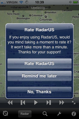 iOS Dialog asking user to review an app